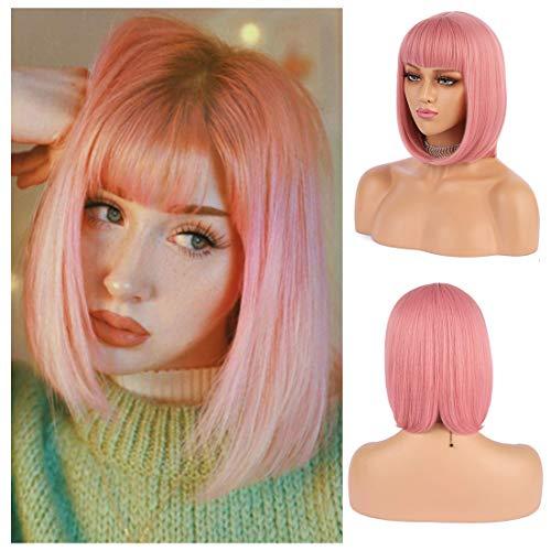 Peluca corta rosa Bob para mujer, peluca de pelo diario recta para mujer de aspecto natural con flecos para fiestas, pelucas de Cosplay de Halloween
