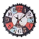 FancyswES8eety Reloj clásico de 34 cm con Tapa de Botella de refresco de Cerveza Reloj de Pared de Metal de Estilo Europeo Vintage Restaurante Bar Hogar Decoración de cafetería