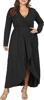 Women Plus Size Wrap V Neck Long Sleeve Ruffle Maxi Dress Flowy Long Dresses
