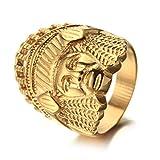 Boansi Anillo Personalizado De Acero Inoxidable Retro para Hombres De Moda India Oro,Tamaño 25