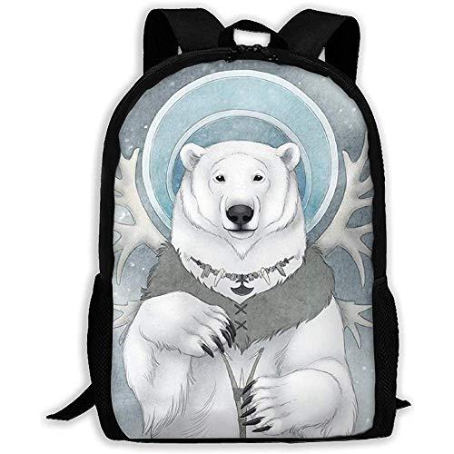 vfrtg Lässige Schultasche Plain Freundlich Inuit Bear Deer Horns Rucksack Frauen 3D Print Daypacks für Männer