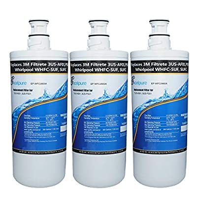 EXCELPURE Premium 3US-AF01 Undersink Standard Water Filter Replacement Compatible W/ 3M Filtrete 3US-AF01, 3US-AS01, 3US-PF01, 3US-PS01, Whirlpool WHCF-SRC, WHCF-SUFC, WHCF-SUF - 3PACK