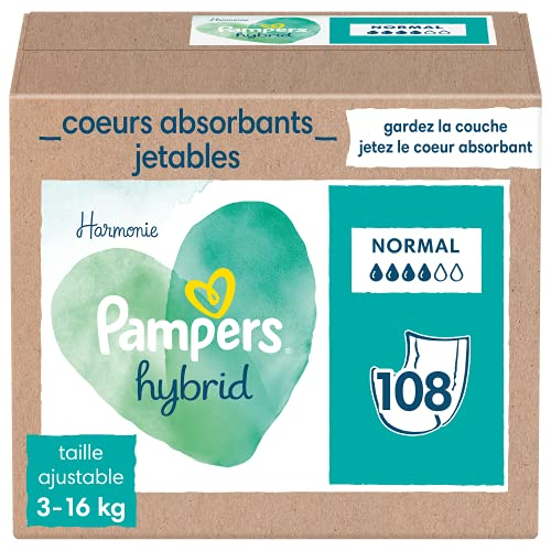 Pampers Harmonie Hybrid - Capa lavable 108 corazones absorbentes desechables