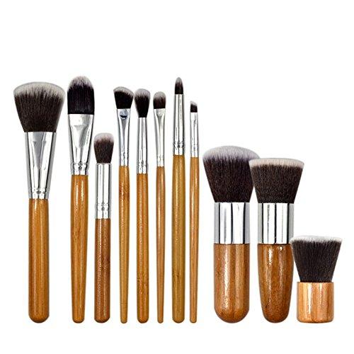 Pinceau De Maquillage Avancé Ensemble De Pinceaux De Maquillage, Pinceau De Maquillage Poignée En Bambou, Fond De Teint Mixte Blush Eyeliner Brosse Pinceau Ensemble De Maquillage (11 Pièces)