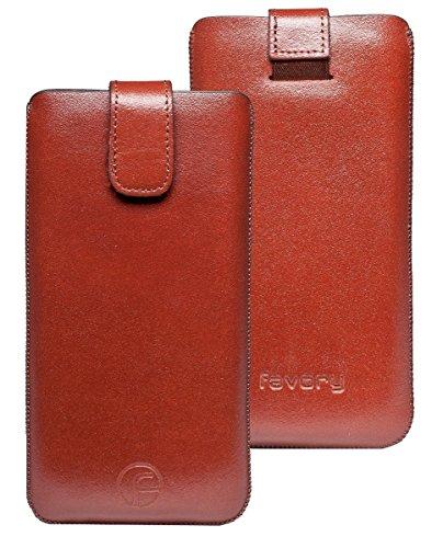 Original Favory Etui Tasche für Bea-fon SL340 / Beafon SL340i | Leder Etui Handytasche Ledertasche Schutzhülle Hülle Hülle Lasche mit Rückzugfunktion* in braun