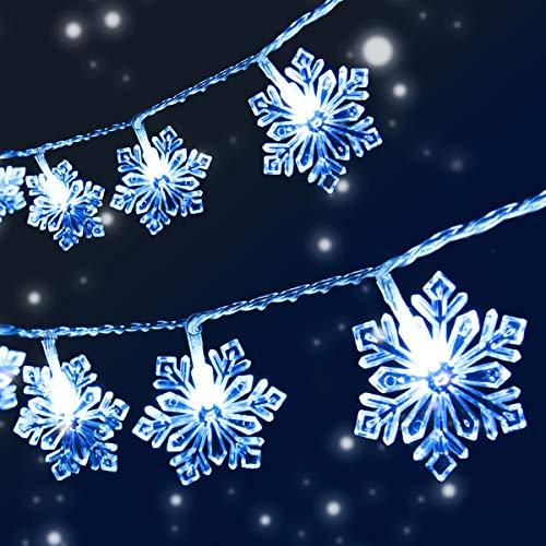 VIFLYKOO Guirlande Lumineuse Flocon de Neige, 8 M 50 LED avec Télécommande 8 Modes, Lampes Décoratives Intérieur Extérieur pour Sapin de Noël, Halloween, Fête, Anniversaire, Mariage, Chambre
