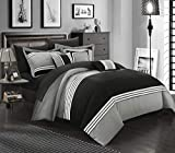 Chic Home Falcon 10 Piece Hotel Collection Bed in a Bag Queen Comforter Sheet Set, Black