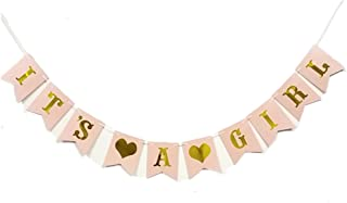 AllHeartDesires Pastel Baby Light Pink Gold Foiled Letter Sign It's A Girl Bunting Banner First Communion Party Garland Photo Booth Props Decoration