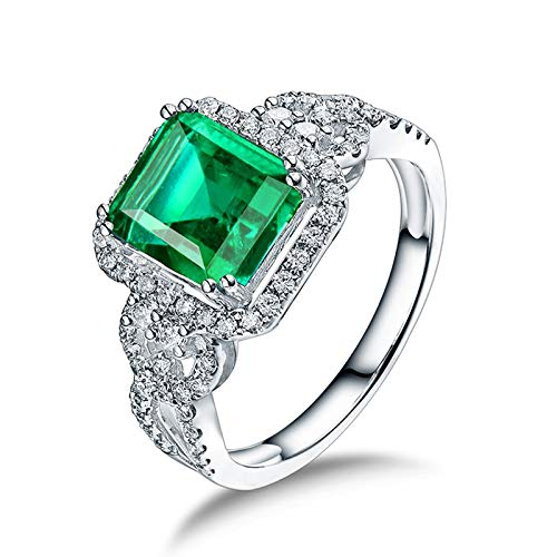 KnSam 18K White Gold Rings, Square Cut Green Emerald 2.26ct VS and 0.47ct Diamond Silver Ring Size I 1/2
