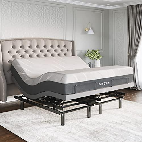 Sven & Son King Adjustable Bed Base Frame Platinum (Individual Head Tilt & Lumbar) + 14' Hybrid Cool Gel Memory Foam Mattress and Adjustable Bed (King)