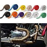 Hitzeschutzband 5cm * 5M / 10M / 15M Motorrad Auspuff Thermoband Kopfwärme Wrap Manifold Dämmrolle Resistant mit Edelstahl Krawatten Auspuffband (Color : 5cm 15m Black)