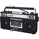 Supersonic Retro 4 Band Radio & Cassette Player with Bluetooth, Boomboxes - Black