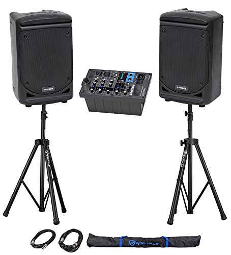 """Samson Expedition XP300 300w Portable 6"""" Bluetooth PA DJ Speakers+Mixer+Stands"""
