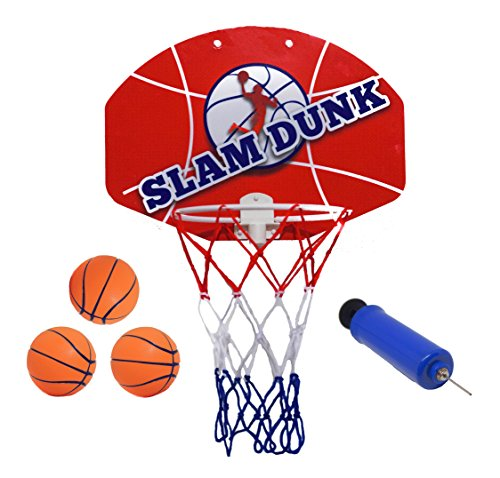 "Slam Dunk Indoor Mini Basketball Hoop Set - Over The Door Plastic Toy Backboard 14 X 10"" w/ Net, 3 Balls & Ball Pump. Simple Assembly, Hanger Mount Game for Kids Children or Adults"