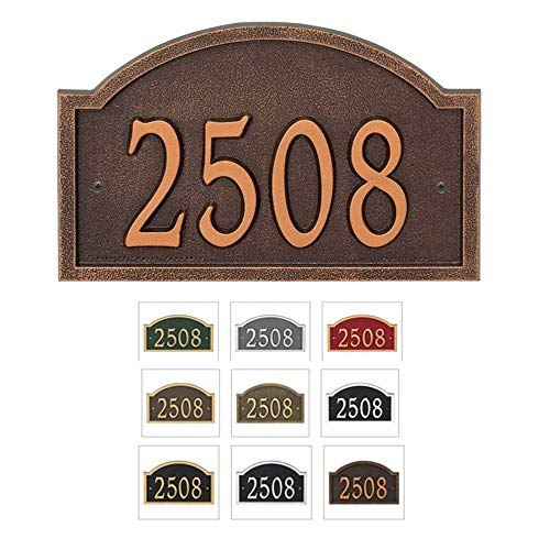 Comfort House Metal Address Plaque House Number Sign # P2835 - Arch Shape - Color Choices Black with Gold, Green, Antique Brass, red, Silver, White, Antique Copper, Bronze, Oil Rubbed Bronze, Pewter