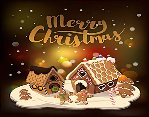 Aluffay Christmas Gingerbread Diamond Painting Kits, Cristmas Gingerbread Houses Candy and Gingerbread Little Men, 5D DIY Full Drill Diamond Art Set for Home Wall Decor Adults and Kids 12 x 16 inch