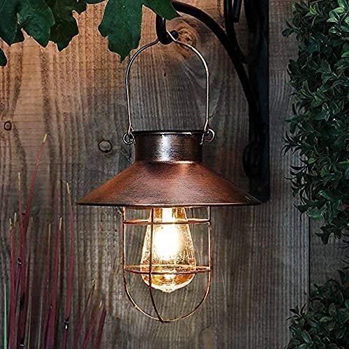 Linternas solares colgantes vintage al aire libre impermeable con bombillas LED cálidas para jardín, patio, camino, Navidad, fiesta, decoración, color dorado
