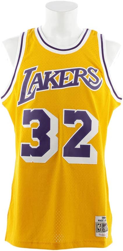 Magic Johnson Los Angeles Lakers Mitchell and Ness Men's Gold Throwback Jesey