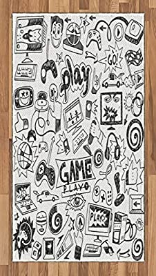 Ambesonne Video Games Area Rug, Monochrome Sketch Style Gaming Design Racing Monitor Device Gadget Teen 90's, Flat Woven Accent Rug for Living Room Bedroom Dining Room, 2.6' x 5', White and Black by Ambesonne
