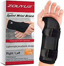 Carpal Tunnel Wrist Brace, Night Sleep Wrist Support, Removable Metal Wrist Splint for Men, Women, Left Hand, Tendinitis, Bowling, Sports Injuries Pain Relief - S/M
