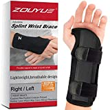 Carpal Tunnel Wrist Brace, Night Sleep Wrist Support, Removable Metal Wrist Splint for Men, Women, Left Hand, Tendinitis, Bowling, Sports Injuries Pain Relief - S/M
