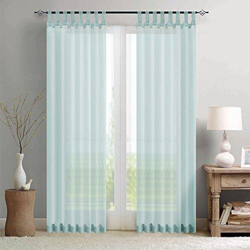 TOPICK Sheer Vorhang Mit Stangendurchzug Transparent Gardine 2 Stücke Gaze Paarig Schals Fensterschal Vorhänge 225 cm x 140 cm(H x B) 2er-SetBlau
