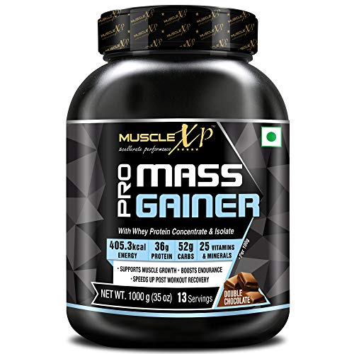 MuscleXP Pro Mass Gainer - With Whey Protein, Isolate, 25 Vitamins and Minerals, Double Chocolate, 1kg (2.2 lb)