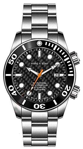 MARC & SONS 1000 M - Orologio subacqueo automatico, vetro zaffiro, valvola...