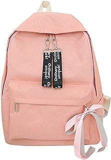 Wultia - Bags for Women 2019 Unisex Canvas Letter Backpack Outdoor Travel Backpack Student Bag Bolsa Feminina Pink