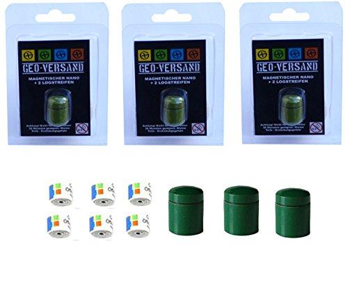 geo-versand 3 x magnetischer Nano grün incl.6 wasserfestem Logstreifen für 37 Logs Geocaching Versteck magnetisch - neodym