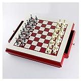 HJSP Tarjeta de Madera Juego de ajedrez Creativo de aleación de Zinc Pintura Traje de ajedrez con Almacenamiento Ranuras Regalo del Arte Adornos Juego de Mesa (Color : Red)