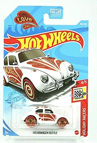 DieCast HotWheelss Volkswagen Beetle, Holiday Racers 4/5 [2021 Love Bug] 96/250 White