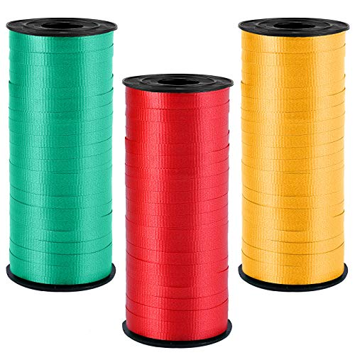 Elcoho 3 Rolls Christmas Balloon Tie Ribbon 0.2 Inch Wide by 300 Yard Spools Curling Ribbon Red, Dark Green, Gold for Christmas Parties Gifts Festival Wedding Florist Crafts