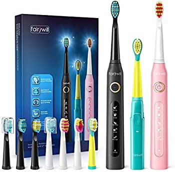 3-Pack Fairywill Sonic Rechargeable Electric Toothbrush