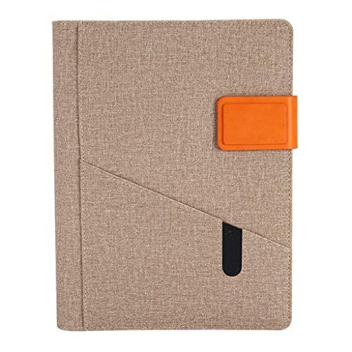 ZRJ Cuaderno de negocios de hojas sueltas para oficina o trabajo con registro de esta tarjeta de visita empresarial, bloc de notas, regalo de estudiante (color beige)