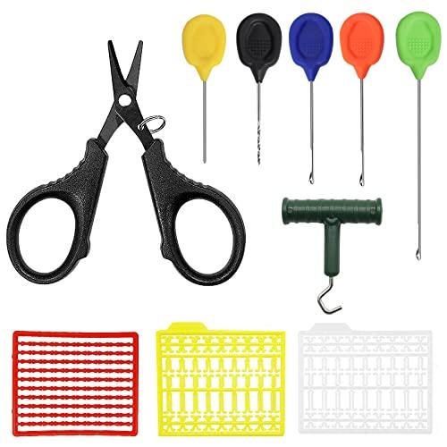 YOTO Karpfen Angeln Rigging Needle Baiting Rig Tool Kit Swinger Driller Knot Puller Line Scissors Boilie Stops Set Combo