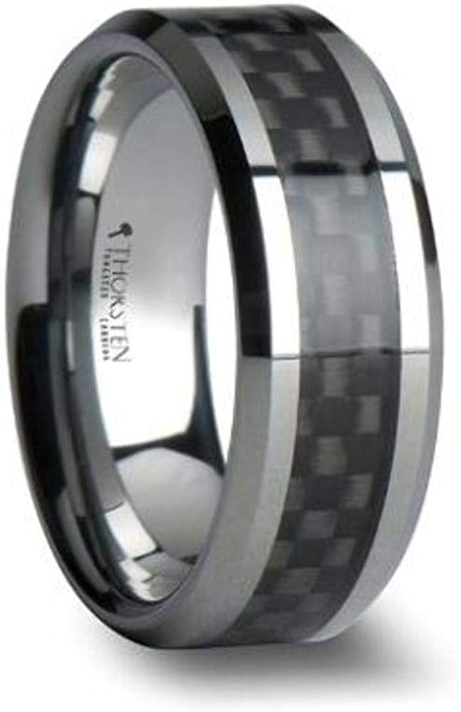 MAXIMUS Tungsten Carbide Wedding Band Ring with High Tech Black Carbon Fiber Inlay Polished Edges 8mm Width Custom Personalized Inside Engraved