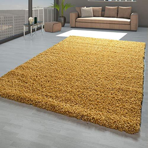 TT Home Hochflor Teppich Gelb Wohnzimmer Schlafzimmer Shaggy Robust Weich Flauschig, Größe:120x170 cm