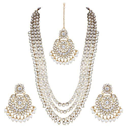 Aheli Indian Ethnic Wedding Faux Kundan Beaded Bridal Long Necklace Earrings with Maang Tikka Traditional Jewellery Set for Women
