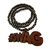 Wooden Soulja Boy #Swag Pendant Piece 36' Bead Chain Good Wood Style - Brown