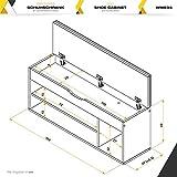 RICOO WM034-ES-B, Schuhregal, 104x49x30 cm, Holz Eiche-Sonoma, Sitzbank mit Stauraum, Sitztruhe, Schuhschrank, Sitzkissen, Schuhbank Aufklappbar - 7