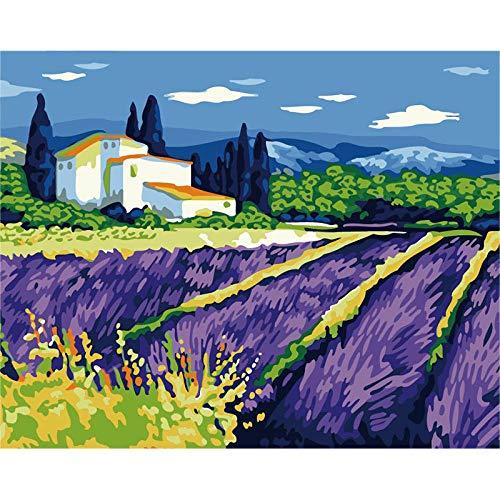 PAAANING Malen Nach Zahlen Erwachsene Kinder, DIY Handgemalt Ölgemälde auf Leinwand Geschenk Malen Nach Zahlen Kits Home Haus Dekor Lila Lavendel Manor