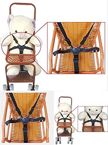 Seggiolone cinghie/imbracatura imbracature, passeggino, seggiolino, cintura, cinghie di ricambio per passeggino 5punti per passeggino Buggy (nero)