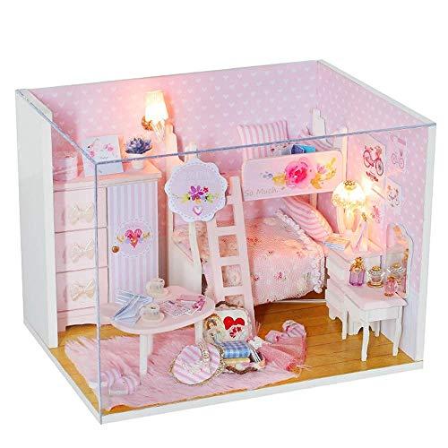 Casa de Madera Montaje de Juguetes, Casa de muñecas en Miniatura DIY Rosa Casa Rosa Niños Hecho A Mano Hecho A Mano Cumpleaños Regalo de cumpleaños con música (Enviar Cubierta de Polvo) DSB