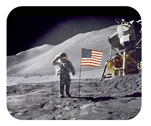 """Mouse Pad Universe Planets & Space Mouse Pads - Decorative & High Performance - 2 Sizes - Thick Natural Rubber, No Slip Base (Large 9.25 x 7.75 x 1/4"""", Astronaut Saluting Flag on Moon)"""