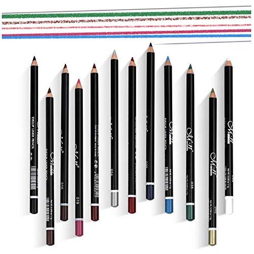 Xiton 12 Farben Pro Eyeliner Pen-Set wasserdichte pigmentierte Lip Liner Long Lasting Eyeliner-Bleistift-Augenbraue Glitter Feder-Verfassungs-Kit für Frauen Mädchen muss abgebunden haben
