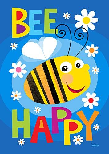 Toland Home Garden 1012312 Drapeau de Maison Double Face Motif Bee Happy 71 x 101 cm