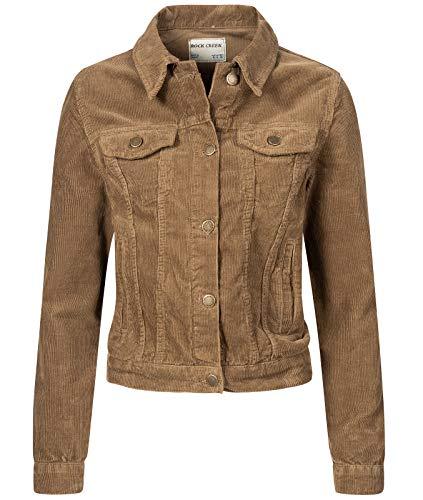 Rock Creek Damen Cordjacke Übergangsjacke Damenjacke Jeansjacke Oversize Vintage Retro Jacken Kurz Frauen Jacke Winterjacke Warm D-432 Dunkelbeige L