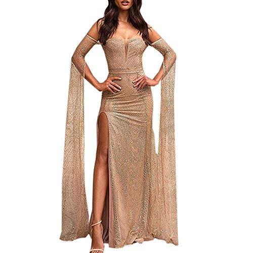 YEBIRAL Damen Kleid Abendkleid Sexy Schulterfreies Cocktailkleid Lange Paillettenkleid Elegant Festlich Partykleid Hochzeit Glänzend Maxikleid...