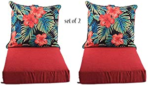 "Comfort Classics Inc. Set of 2 Deep Seating Outdoor Dining Chair Cushion: Pillow: 24"" W x 27"" L x 5"" T; Seat: 24"" W x 24"" L x 6"" T in Spun Polyester Fabric Red Floral"